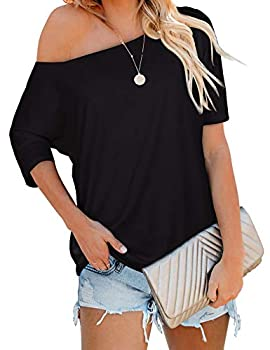 Spring Half Sleeve Tops for Women Casual Off The Shoulder Shirts Loose Fitting Black L