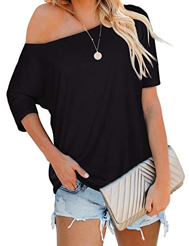 Womens T Shirts Batwing Sleeve Off The Shoulder Tops Solid Color Spring Black S