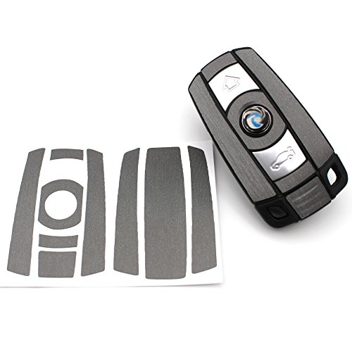 Finest-Folia Schlüssel Folie BB für 3 Tasten Auto Schlüssel (nur Keyless Go) Folien Cover (Alu Schliff Anthrazit)