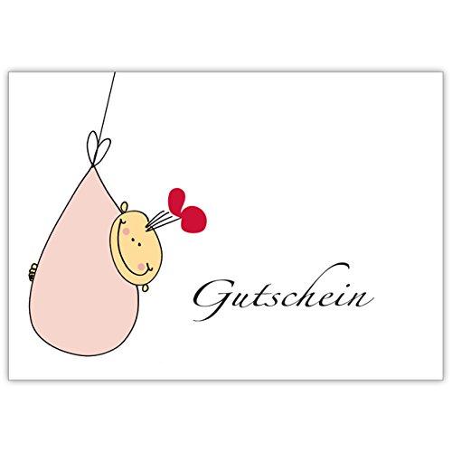 Baby cadeaubon met grappige baby voor babyshower/verjaar/doop, roze • mooie welkomst, wenskaart, geboortekaart voor moeder en kind, individuele babykaart voor medewerkers, familie, vrienden en collega's