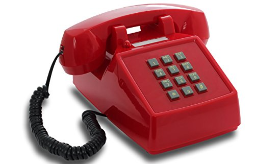 OPIS PushMeFon Cable: 1970er Retro-Tastentelefon mit klassischer Metallklingel (rot)