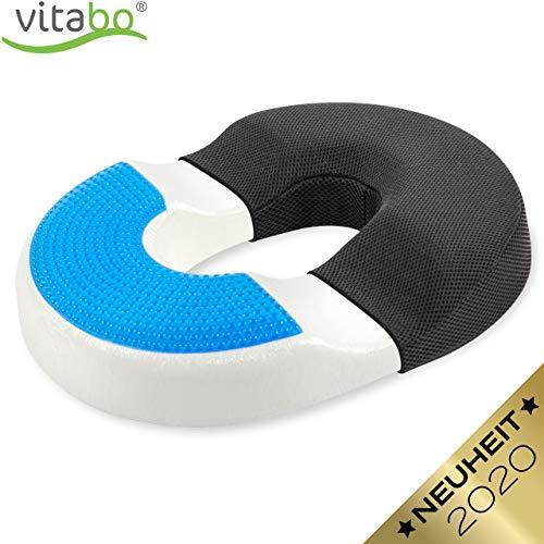 Vitabo Orthopädischer Steißbein Sitzring – Steißbeinkissen mit Gel-Schicht zur Rückenentlastung Druckentlastung I Ringkissen wirkt schmerzlindernd (Schwarz)
