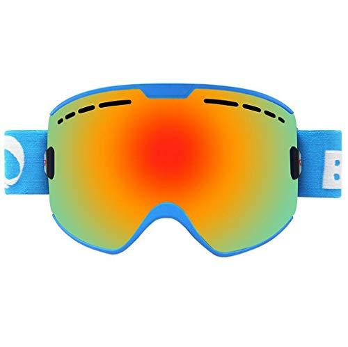 JSHFD Männer, Frauen und OTG Skibrillen, Anti-Fog, Anti-Blendung, Winddicht, 100% UV400 UV-Schutzlinse, Geeignet zum Skifahren Snowboard Downhill-Ski (Farbe : Blau)