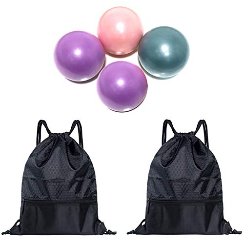 Xigeapg 2Pcs Football Basketball Drawstring Bags with Zipper Pocket & 4Pcs Pilates Yoga Ball Straw Yoga Fitness Ball