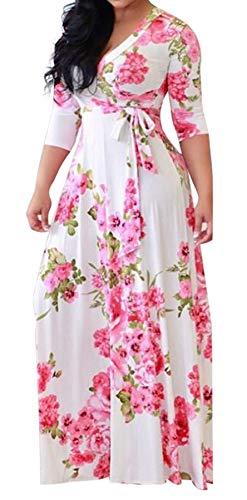 Robe Florale Longue Femme Grande Taille Boheme Hippie Chic Habille Robe Croisee Devant Manche 3/4 Col V Tunique Imprime Tropical Ethnique Kaftan Africain Caftan de Plage Cocktail Soirée Mariage Bureau