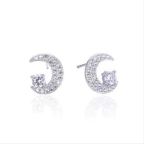 Voller Diamant Halbmond s925 reines Silber Ohr Nägel süße kleine frische Schulmädchen Mode Ohr Schmuck