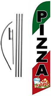 Pizza Restaurant Advertising Feather Banner Swooper Flag Sign with Flag Pole Kit and Ground Stake