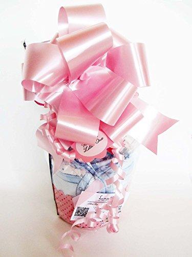 Maxi-Muffin di Pannolini con Ciuccio SUAVINEX | Baby Shower Gift Idea | Pensiero per Nascita o Battesimo personalizzabile con il nome del Bebé | Colore Rosa, Versione per Femminucce
