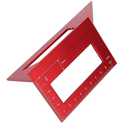 3D Aluminum Alloy Square Gauge, Multifunctional 45/90 Degree Angle T Ruler Mitre Angle Woodworking Measuring Tools-red