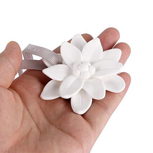 Colgante De Coche Yeso Fragancia De Flores Decoraciones Automáticas Ambientador Sólido Automóviles Interior Espejo Retrovisor Adornos Perfume Decorate (Color : White)