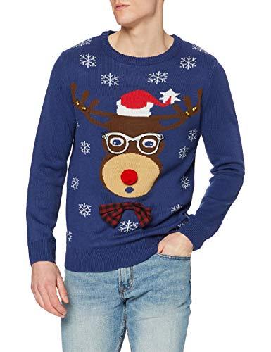 The Christmas Workshop Men's Pullover, Blue (Navy Blue), X-Large