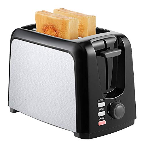 Buy Discount Toasters 2 Slice Best Rated Prime 2 Slice Toaster Wide Slot Compact Black Toaster with 7 Shade Bread Control Bagel/Defrost/Cancel Function Removable Crumb Tray