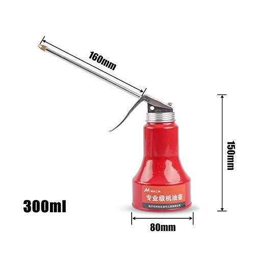 MOC Aceitera de plástico de mano, bomba de aceite, herramienta para latas, boquilla recta y flexible (300 ml, metal 160 mm)