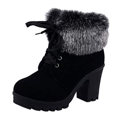 Ansenesna Stiefeletten Damen Schwarz Mit Absatz Leder Gefüttert Winter Schuhe Frauen Blockabsatz Mode Zum Schnüren Boots (40, Schwarz)