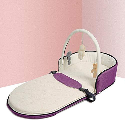 ZIXIANG Lits-Cages Lit Nouveau-né Portable Lit Bionique Baby Lounger Berceau pour Chambre Voyage Pliant Protecteur Pad Lits bébé Berceaux (Color : Purple, Size : 01)