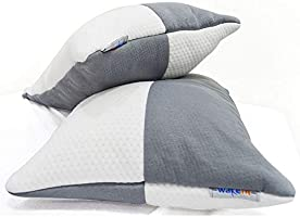 Wakefit Hollow Fiber Pillow, 68.58 cm x 40.64 cm, White & Grey, 2-pieces