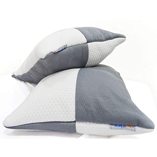 Wakefit Hollow Fiber Pillow, 68.58 Cm X 40.64 Cm, White And Grey, 2 Pieces