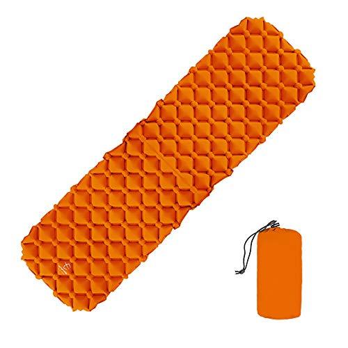 HJUOS Aufblasbare Kissen-Camping-Luftmatratze-Schlafmatte und Airbag-kompatible Zeltbeutel-Hängematte geeignet für Bett-Bergsteiger-Rucksack-Orangenanzug Schaum große komfortable Isolierung Faltung