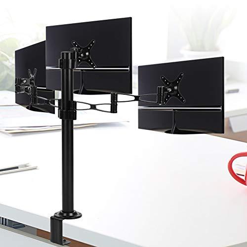 Gotoop PC-monitorhouder voor 3 monitoren van 10 tot 27 inch, verstelbaar, bureauhouder voor computer, 360 graden draaibaar