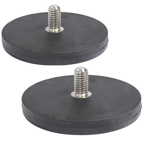 2 Stück Neodym Magnete Gummiert D 66mm Mit M8 Außengewinde 22 KG Zugkraft Flachgreifer Magnet Scheibe Topfmagnet Gummi Runde Magnete mit Gewinde für Schrauben Öse oder Haken