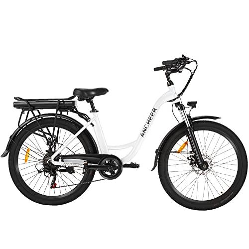 """ANCHEER 26"""" E-Bike mit Abnehmbarer 12,5-Ah-Akku, 250 watt Elektrofahrrad City Cruiser Doppelscheibenbremsen 6-Gang-Getriebe Pedelec (Weiß)"""