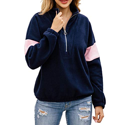 QJSZ Womens Stand-up Collar 1/4 Zip Pullover Long Sleeve Patchwork Loose and Comfortable and Winter Warm Lightweight Sweatshirt Fashion Elegant Casual LightweightRunning top M