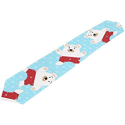 sunnee-shop Kerstmis Nieuwjaar winter ijsbeer tuppen tafelloper doek voor keuken eettafel