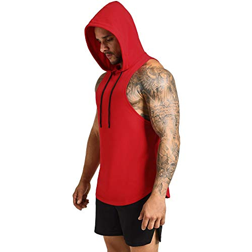 GymRevolution Men's Workout Hooded Tank Top Cut Off Bodybuilding Muscle Shirt Hoodies Gym Pullover Sleeveless T-Shirts Red L