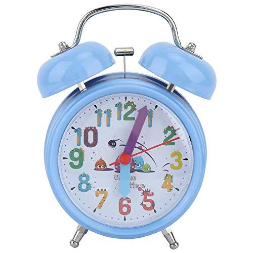 Vobor Reloj Despertador Infantil Campana de Timbre Noche Reloj Despertador Luminoso Reloj electrónico Reloj Despertador(Azul)