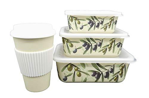 Set Recipientes y Vaso Café, 4 piezas, Bambú, Ecológico,