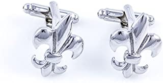 MRCUFF Fleur De Lis Classic Pair Cufflinks in a Presentation Gift Box & Polishing Cloth