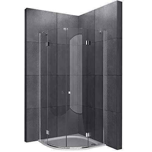 SENSO Viertelkreis Duschkabine 80x80x195 cm 2-türig mit Nanobeschichtung EasyClean Dusche   Duschabtrennung   Runddusche Komplett  Lotus-Effekt Dusche aus Sicherheitsglas ESG   TÜV geprüft