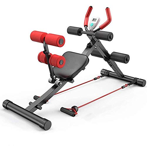 Rugtrainer & buiktrainer 2 in 1 sit-up bank abdominale kroonmachine kern buiktrainer workout gym voor benen, dijen, zitvlak, rodeo, in hoogte verstelbare sit-up oefener hometrainer met display.