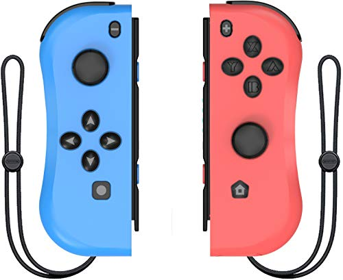 Joy Con Controller Replacement for Nintendo Switch L/R Joycon Pad with Wrist Strap Alternatives for Nintendo Switch Controllers Wired/Wireless Switch Remotes (Blue&Red)
