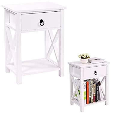 LAZYMOON MDF Nightstand Table X-Design End Table Side Table Storage Shelf w/ 1 Drawer, White Finish