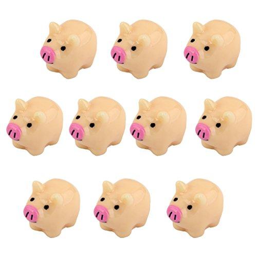 10pcs Miniature Mother Pig Bonsai Ornaments Dollhouse Garden Decoration 2 x 1.6cm