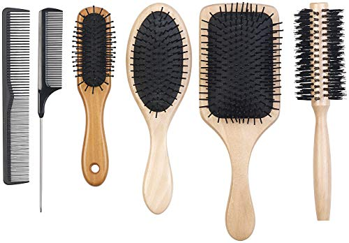 Sichler Beauty Haarbürsten: 6er-Haarpflege-Set: 3 antistatische Holzbürsten, 1 Rundbürste, 2 Kämme (Haarkamm)
