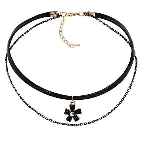 KnBob Edelstahl Halskette für Damen Gold Schwarz Blume Choker Zirkonia Halsband Halskette