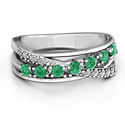 Anillo de Compromiso para Mujer, de Corte Redondo, Esmeralda Verde y Diamante Blanco CZ Chapado en Oro Blanco de 18 Quilates