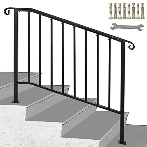 Happybuy Handrails for Outdoor Steps, Fit 3 or 4 Steps Outdoor Stair Railing, Picket#3 Wrought Iron Handrail, Flexible Porch Railing, Black Transitional Handrails for Concrete Steps or Wooden Stairs