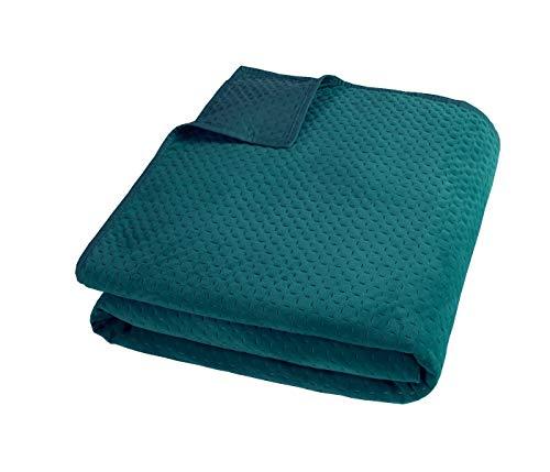 Sleepdown Pinsonic-Colcha geométrica de Terciopelo Verde Esmeralda para sofá Cama, Manta Grande súper Suave, cálida, 240 cm x 260 cm, Poliéster, Bedspread 260cm x 240cm