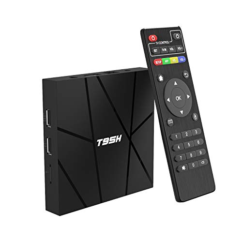 Android 10.0 TV Box 2GB RAM 16GB ROM Smart TV Box, T95H Allwinner H616 Quad-Core 2020 6K TV Box con 64bit, H.265, 3D, 2.4G WiFi, 10 / 100M Ethernet, etc.