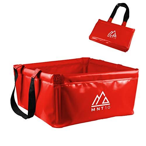 MNT10 Outdoor Faltschüssel en 15L o 20L I Faltbare Camping Waschschüssel de robustem lonas tejidos I como Camping Spülschüssel, Spülwanne o como Faltbarer cubo., Rojo 20L