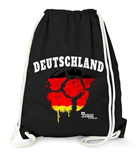 MoonWorks Turnbeutel Deutschland Fußball EM WM Vintage Ball Flagge Germany Flag Fan Gym Bag schwarz Unisize