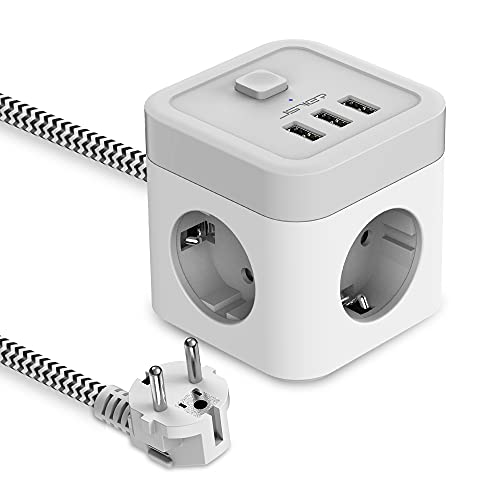 JSVER Regleta Enchufe Cubo con USB de 3 Tomas con 3 USB Puertos(15,5 W) Alargadera Electrica Protección contra Sobretensiones con Interruptores para el hogar, la Oficina y los Viajes Cable 1,5 m