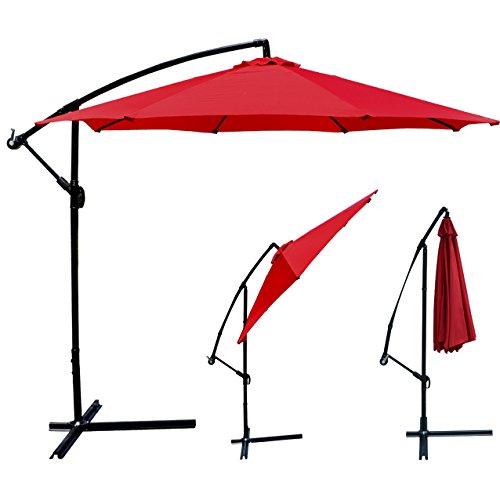 Patio Umbrella Offset 10' Hanging Umbrella Outdoor Market Umbrella D10 (Red)