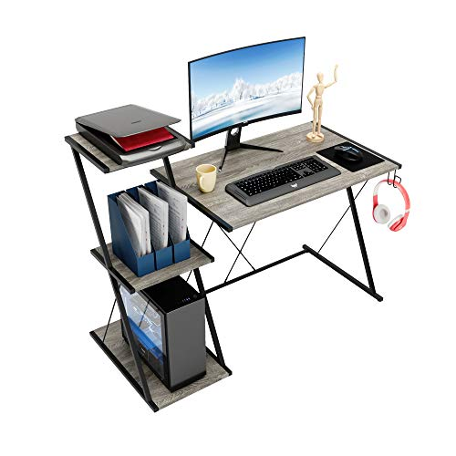 """Bestier Gaming Desk with Storage Shelf 51.5"""" Home Office Computer Desk with 3-Tier Open Shelf Modern Simple Office Desk with Headset Hook Computer Workstation, Space-Saving, Easy to Assemble Grey"""
