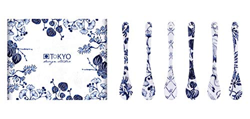 TOKYO design studio Flora Japonica 6-er Löffel-Set blau-weiß, 13 cm lang, asiatisches Porzellan, Japanisches Blumen-Design, inkl. Geschenk-Verpackung