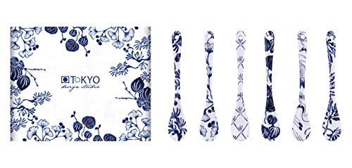 TOKYO Design Studio Flora Japonica - Set di 6 cucchiai da 13 cm, in porcellana asiatica, design floreale giapponese, confezione regalo