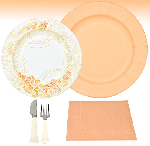 MamboCat 56-TLG. Einweggeschirr Party Set Pfirsich für 8 Personen aus Papptellern, Servietten und Besteck für Festliche Anlässe mit pfirsich-farbigen Rosenverzierungen